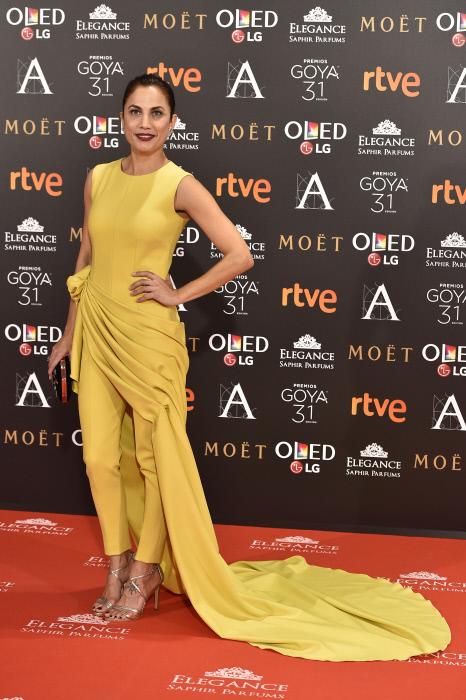 "Actress Toni Acosta at photocall during the 31th annual Goya Film Awards in Madrid, on Saturday 4th February, 2017. en la foto : vestida por la firma "" Alicia Rueda """
