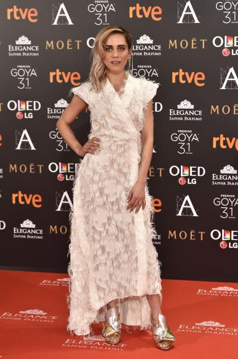 "Actress Maria Leon at photocall during the 31th annual Goya Film Awards in Madrid, on Saturday 4th February, 2017. en la foto : vestida por la firma "" Juanjo Oliva """