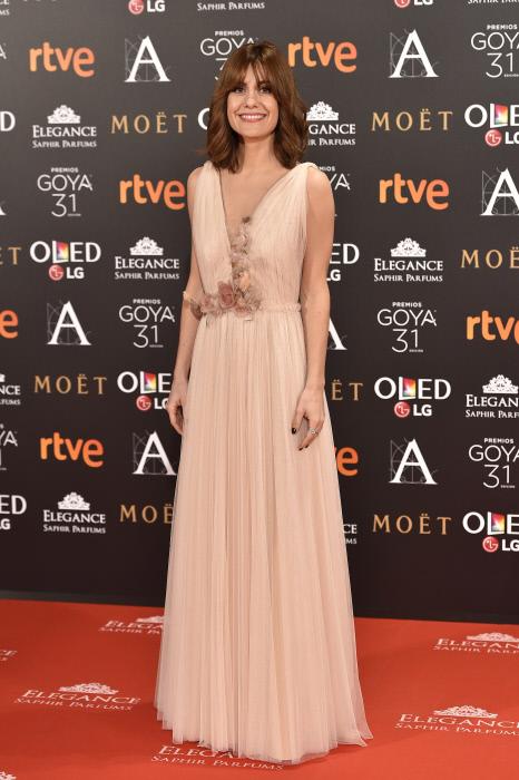 "Actress Alexandra Jimenez at photocall during the 31th annual Goya Film Awards in Madrid, on Saturday 4th February, 2017. en la foto : vestida por la firma "" Santos Costura """