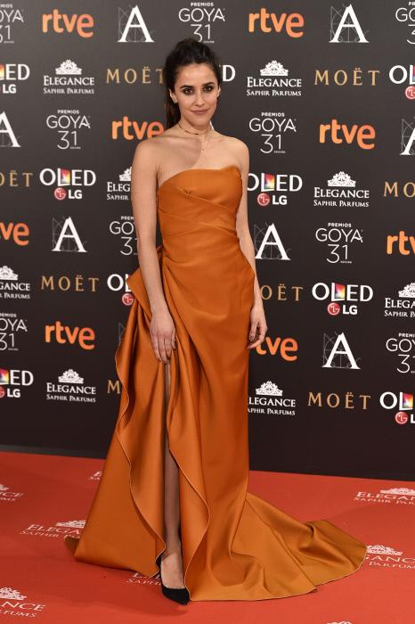 "Actress Macarena Garcia at photocall during the 31th annual Goya Film Awards in Madrid, on Saturday 4th February, 2017. en la foto : vestida por la firma "" Paule Ka """